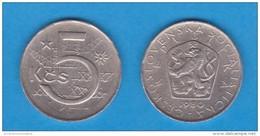 CHECOSLOVAQUIA   5 CORONAS  1.980  CU NI  KM#60    VF/MBC    DL-11.151 - Checoslovaquia
