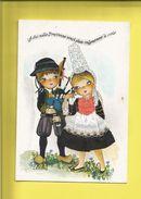 Carte Postale Brodée Bretagne  Jeunes Bretons En Costume   Editions Vacances Carte Neuve Signée  V.Escriva - France