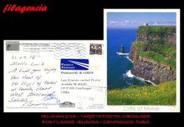 EUROPA. IRLANDA. ENTEROS POSTALES. TARJETA POSTAL CIRCULADA 2016. PORTLAOISE. IRLANDA-CIENFUEGOS. CUBA. PESCA - Covers & Documents