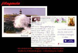 EUROPA. IRLANDA. ENTEROS POSTALES. TARJETA POSTAL CIRCULADA 2016. DUBLÍN. IRLANDA-CIENFUEGOS. CUBA. FLORES. OSOS. FAROS - 1949-... Repubblica D'Irlanda