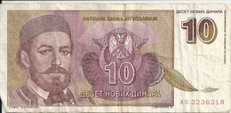 YOUGOSLAVIE 10 NOVIH DINARA 1994 VF P 149 - Yugoslavia