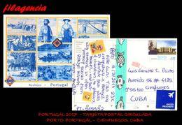 EUROPA. PORTUGAL. ENTEROS POSTALES. TARJETA POSTAL CIRCULADA 2017. PORTO. PORTUGAL-CIENFUEGOS. CUBA. AZULEJOS - 1910-... República