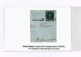 R) 1856 CHILE, OVALLE WITH BLACK LETTER TO VALPARAISO SEAL OF 10 CENTS - Chile