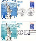 """FRANCE / USA 1986 : 2 Enveloppes 1er Jour """" STATUE DE LA LIBERTE """" N° YT 2421 + USA N° YT 1672 - Emissions Communes"""