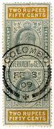 (I.B) Ceylon Telegraphs : 2R 50c (Colombo) - Ceylon (...-1947)