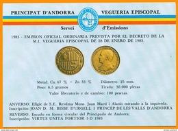 Andorra Viguerie Andorre**LUXE 1983 Carte Postale 1 Monnaie - Timbres