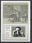 Germany (DDR) 1988 Bertolt Brecht (**) MNH  Mi.3148 (block 91) - DDR