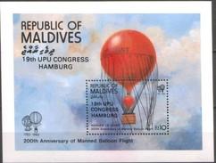 Maldives Malediven 1984 Yvertn° Bloc 93 *** MNH Cote 55 FF UPU Hamburg Luchtballon - Maldives (1965-...)