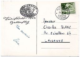 SWITZERLAND - SUISSE / ZURICH 1953 = SONDERSTEMPEL - CACHET Illustré = ZURIFASCHT + N°  483 + HITTNAU - Storia Postale