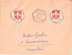 4228 PRIZIAC Morbihan Blason Lille 5 F Yv 1186 Ob 3 3 1960 Hexagone Recette Auxiliaire Rurale Lautier E7 - Manual Postmarks