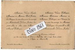 VP11.271 - BOIS LE ROI X MONTEREAU - Faire - Part De Mariage De Mr Marcel DELBERGUE & Melle Yvonne JOUBIER - Mariage
