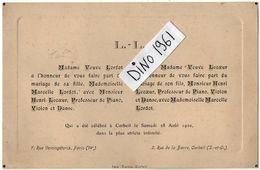 VP11.272 - PARIS X CORBEIL - Faire - Part De Mariage De Mr Henri LECOEUR Professeur De Piano & Melle Marcelle LORDOT - Wedding