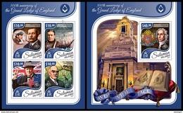 SOLOMON Isl. 2017 - Masonry, Grand Lodge Of England - Mi 4722-5 + B695, Sc 2374+2399 - Franc-Maçonnerie