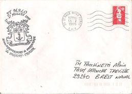 MARCOPHILIE NAVALE SAINT MALO JUILLET 1995 20 EME ANNIVERSAIRE DU PARRAINAGE DU DUGUAY TROUIN - Marcophilie (Lettres)