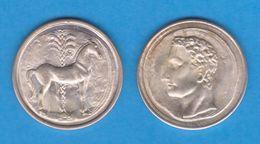 HISPANIA CARTAGONOVA 220 - 205 A. C.  SICLO  -  PLATA  - Réplica  SC/UNC    T-DL-12.149 - Otras Piezas Antiguas