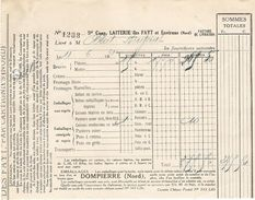 FACTURE 1931 LAITERIE DES FAYT CARTIGNIES NORD - DOMPIERRE NORD - BEURRE FROMAGE - OBLET CHAUNY - Alimentaire