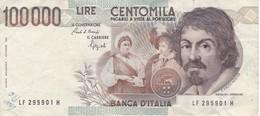 BILLETE DE ITALIA DE 100000 LIRAS DEL AÑO 1983 SERIE LF DE CARAVAGGIO (BANKNOTE-BANK NOTE) - [ 2] 1946-… : Républic