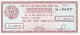 BILLETE DE BOLIVIA DE 100000 PESOS  DEL AÑO 1984   SIN CIRCULAR-UNCIRCULATED - Bolivia