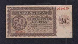 EDIFIL 420a.   50 PTAS 21 DE NOVIEMBRE DE 1936 SERIE D. CONSERVACIÓN MBC+ - [ 3] 1936-1975: Regime Van Franco