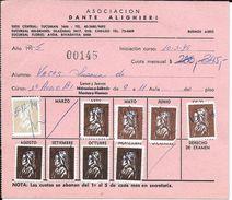 SCUOLA ITALIANA IN ARGENTINA ASOCIACION DANTE ALIGHIERI LIBRETA CON ESTAMPILLAS USADAS COMO RECIBOS DE PAGO DE LAS CUOTA - Rechnungen