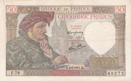 FRANCE : BILLET  50 FRANCS JACQUES COEUR Du 8-5-1941 - épinglages, Plis, Salissures (2 Scan) L - 50 F 1940-1942 ''Jacques Coeur''