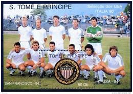 Sao Tome E Principe, 1990, Soccer World Cup Italy, Football, MNH, Michel Block 235 - Sao Tome Et Principe