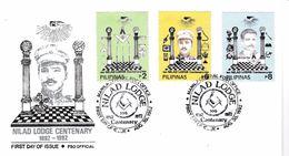 134- FRANC-MAÇONNERIE (MASONIC) : Philippines, Incontournable.Série Sur Enveloppe. Cachet FDC Symbolique. - Freemasonry