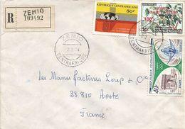 RCA CAR Centrafrique 1974 Zemio Drought Overprint 100f On 10f Skiff Arc De Triomph Paris Registered Cover - Centraal-Afrikaanse Republiek