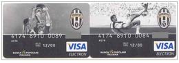 Banca Populare Italiane ITALY FC JUVENTUS Football Club *** 2 C A R D S *** VISA  EXPIRED 2000 - Geldkarten (Ablauf Min. 10 Jahre)