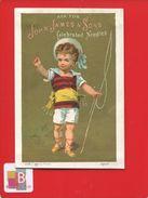 RARE CHROMO OR APPEL CALENDRIER 1881 LONDRES PARIS JOHN JAMES SONS PETIT PECHEUR Aiguille Fil - Calendriers