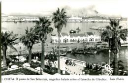 CEUTA  POSTAL FOTO Años 1950 Paseo De San Sebastian Estrecho De Gibraltar - Ceuta