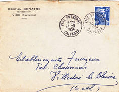 Lettre Vire Entrepot Calvados 1954 Gandon - Briefe U. Dokumente