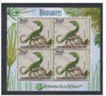 Burundi 2012 Prehistory Prehistoire Dinosaurs Dinosaures Compsognathus Feuillet De 4 - Vor- Und Frühgeschichte