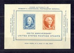 100e Anniversaire Du Timbre US 1947. Vignette-bloc Non Postale, Non Dentelée, Neuve * (2 Charnières Aux Bords) - Etats-Unis