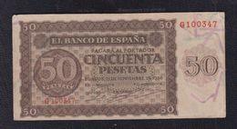 EDIFIL 420a.   50 PTAS 21 DE NOVIEMBRE DE 1936 SERIE G. CONSERVACIÓN MBC - [ 3] 1936-1975: Regime Van Franco
