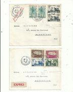 """2 L """"EXPRESS"""" De TUNIS Pour MARSEILLE....1958/1959...avec Timbres De TUNISIE Et De La République.TUNISIENNE............ - Tunesië (1956-...)"""