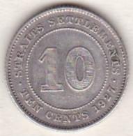 BRITISH . STRAITS SETTLEMENTS. 10 CENTS 1927. GEORGE V.. ARGENT - Malesia