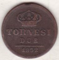 Due Sicilie . 2 Tornesi 1852 . Ferdinando II - Regional Coins