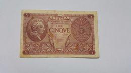 ITALIA 5 LIRE ATENA ELMATA 1944 - [ 1] …-1946 : Kingdom