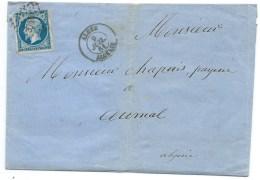 N° 14 BLEU NAPOLEON SUR LETTRE / ALGER  POUR AUMALE ALGERIE  / 9 JUIL 1861 - Marcophilie (Lettres)