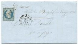 N° 14 BLEU LAITEUX NAPOLEON SUR LETTRE / MONTIVILLIERS POUR FORGES DU BUISSON / 4 JUIL 1854 / 1er MOIS D'EMISSION - Postmark Collection (Covers)