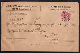 LORRAINE - METZ / 1883 ENTETE BILINGUE D'UN HUISSIER SUR LETTRE POUR VIGNY VIA SOLGNE (ref 7692) - Alsace-Lorraine