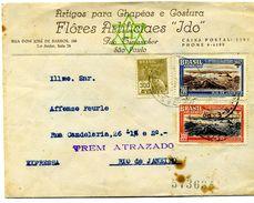 Lettre Du Brésil Sao Paulo 3 Timbres   Dossier Factures 12 - 1921-1960: Periodo Moderno