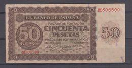 EDIFIL D420a.  50 PTAS 21 DE NOVIEMBRE DE 1936 SERIE M. - [ 3] 1936-1975: Regime Van Franco