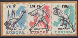 "Belgium 1966 Eur. Athletic Champ M/s VARIETY ""wrong Ovptd- 1696"" ** Mnh (3707) - European Ideas"