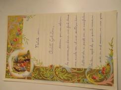 Letterina Natale 1961  Sacra Famiglia Cornice Dorata - Vecchi Documenti
