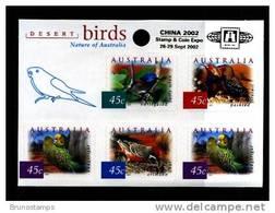 AUSTRALIA - 2001  DESERT BIRDS SELF-ADHESIVE SHEETLET OVERPRINTED CHINA 2002 MINT NH - Blocchi & Foglietti