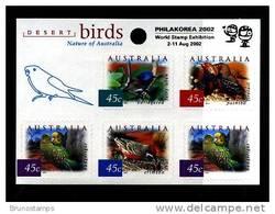AUSTRALIA - 2001  DESERT BIRDS SELF-ADHESIVE SHEETLET OVPT PHILAKOREA 2002 MINT NH - Blocchi & Foglietti