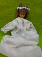 Robe De Bapteme Ancienne + Petite Poupee Bella + Diademe Ancien - Baptême