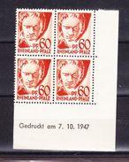 Rheinland-Pfalz, Mi 12 Yv, Beethoven Im 4er-Block Mit Druckdatum 7.10.1947, Postfrisch (42851) - Zone Française